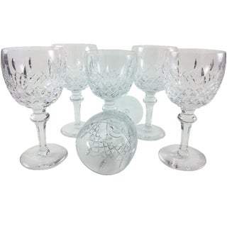 European Cut Crystal Wine Goblets - Set of 6