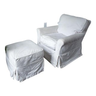 Crate & Barrel White Cotton Lounge Chair and Ottoman