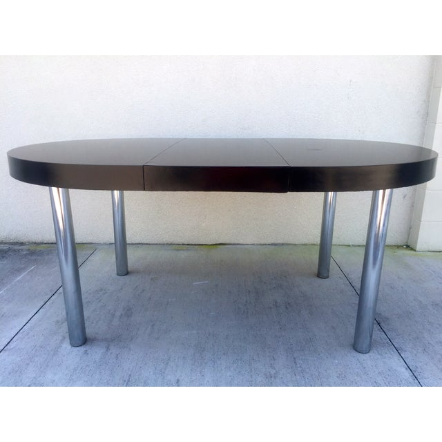 Mid Century Lacquered Black Amp Chrome Dining Table Chairish This ...
