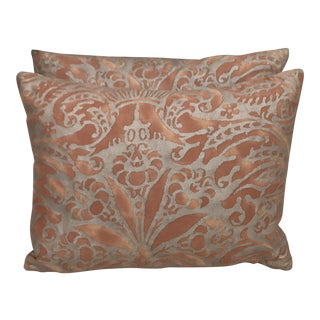 Bronze & Gold Fortuny Pillows - A Pair
