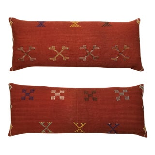 Moroccan Cactus Silk Rug Pillows - A Pair