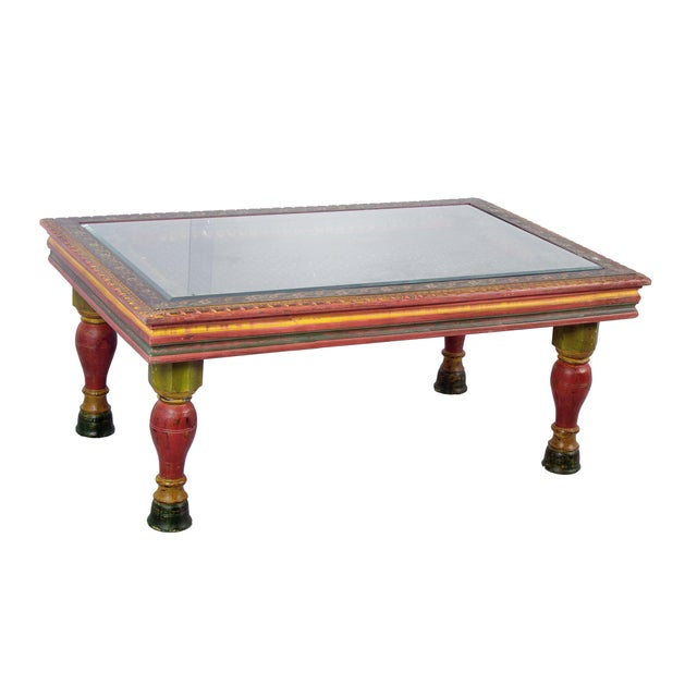 Image of Handmade Wooden Carved Traditional Coffee Table
