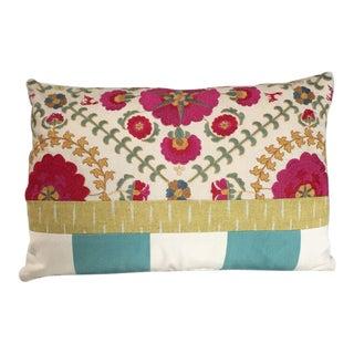 Kim Salmela Embroidered Floral Patchwork Pillow