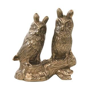 Vintage Brass Owls on Branch