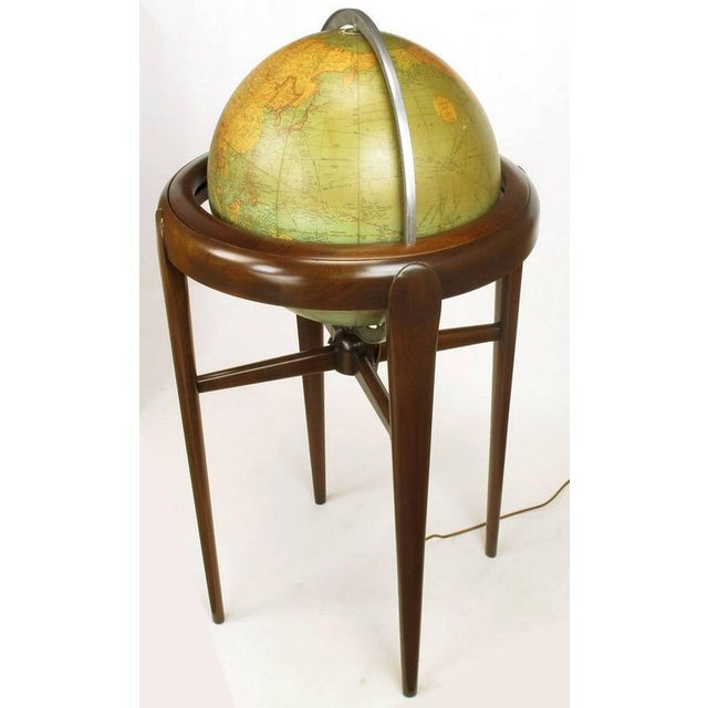 Replogle Illuminated Glass Globe on Mahogany Articulated Stand, circa 1940s - Image 5 of 10
