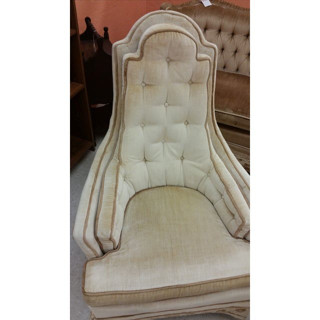 Hollywood Regency Tall Tufted Hickory Chairs -Pair - Image 3 of 7