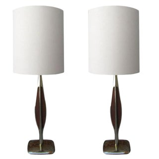Pair of Laurel Brass & Wooden Inlay Table Lamps