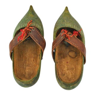 Antique French Sabots Hand Carved Wooden Shoes - A Pair