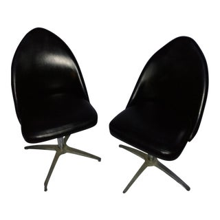 Vintage Black Vinyl Swivel Chairs - A Pair