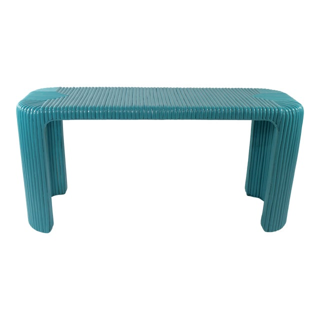 Bamboo Console Table With Aquamarine Lacquer - Image 1 of 5