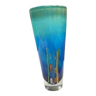 Blue Millefiori Blown Glass Vase