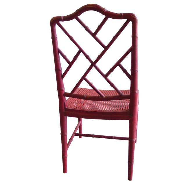 1960s red bamboo style side chair chairish for Sixties style chairs