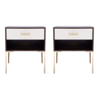 Astor Tall Brass Nightstands in Ebony Walnut and Ivory Lacquer by Montage, Pair