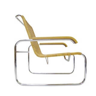 Marcel Breuer B 35 Lounge Chair for Thonet in Chrome and Woven Rattan