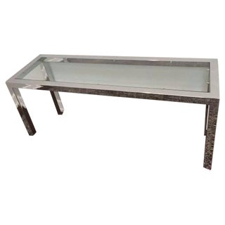 Vintage Chrome And Glass Parson Console Table