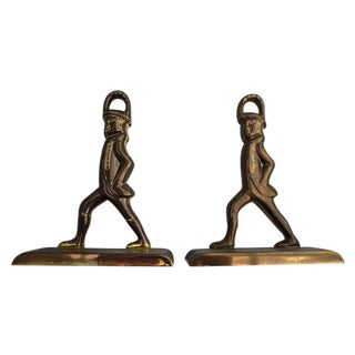 Solid Brass French Officer's Bookends - A Pair
