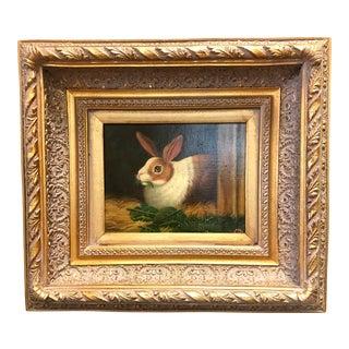 Framed Rabbit Oil Painting