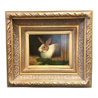 Framed Rabbit Oil Painting