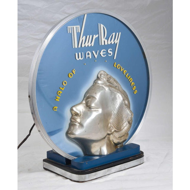 ON HOLD Original Art Deco Machine Age Lighted & Cobalt Mirrored Thur Ray 1940's Advertising Sign - Image 2 of 10