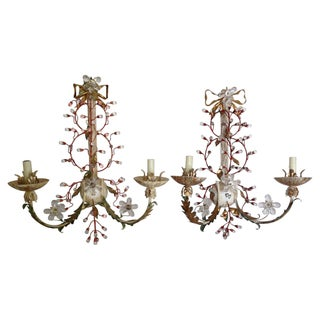Florentine Tole & Crystal Sconces - Pair