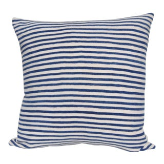 "Blue and White Stripe Baule MudCloth Pillow - 20"" x 20"""