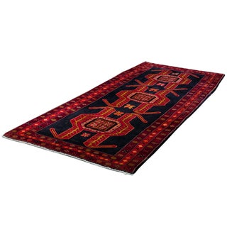 "Sarreid LTD Oriental Red & Black Runner - 4'4"" x 9'5"""