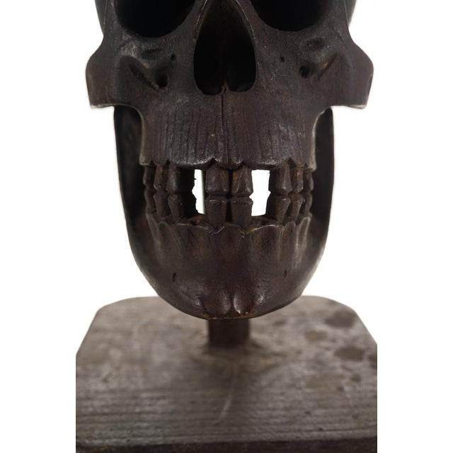 19th Century Hand Carved Wooden Skull - Image 3 of 9