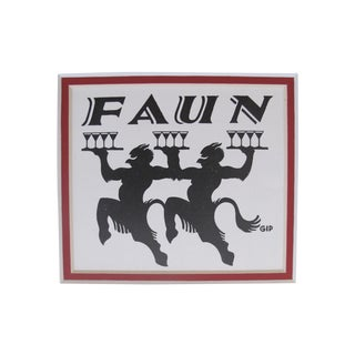 1920's British Art Deco Faun Bar Matted Poster