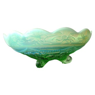 Opalescent Green Glass Floral Console Bowl C. 1900
