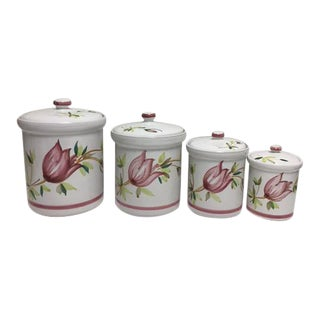 Vintage Hand Painted Terracotta Canisters - Set of 4