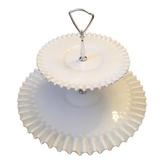 Fenton Hobnail Milk Glass 2 Tiered Dessert Tray