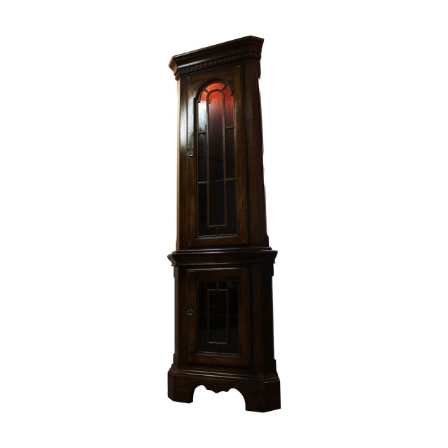 Two-Piece Lighted Cherry Curio Corner Cabinet - Image 1 of 11