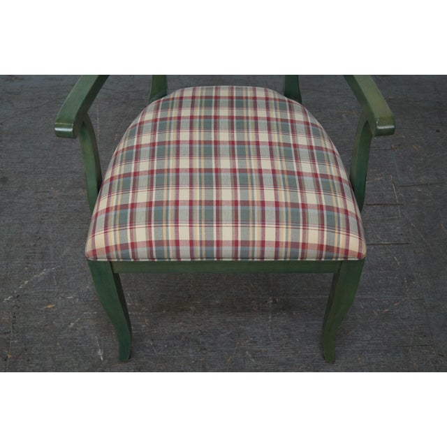 Ethan Allen Country Green Painted Arm Chair - Image 8 of 11