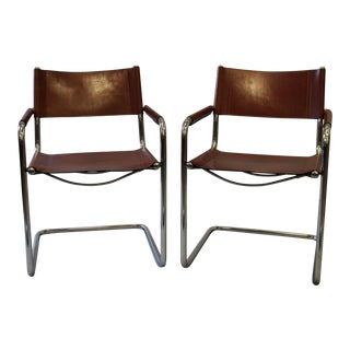 Vintage Bauhaus Style Leather Chairs - A Pair