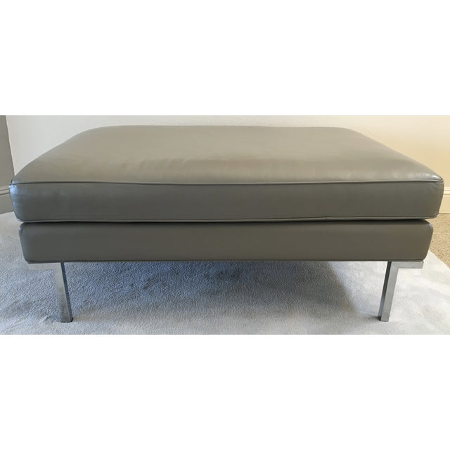 Image of Theatre Ottoman in Grey Leather