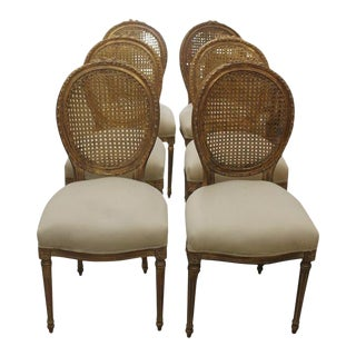 French Louis XVI Gilt Cane Caned Chairs - Set of 6
