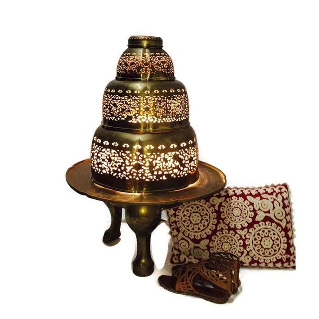 Vintage Morrocan Pierced Brass Floor Lamp - Image 3 of 6