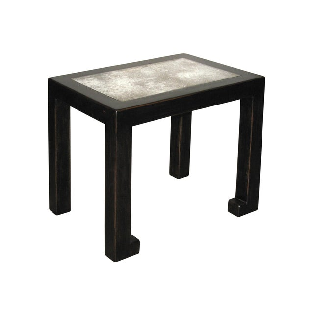 Image of Antiqued Black Lacquer Mirrored Side Table