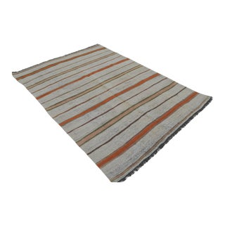Vintage Natural Turkish Cotton Stripe Kilim Rug - 4′11″ × 6′11″