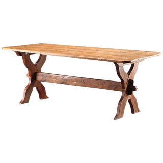 Vintage Danish Farm Trestle Table