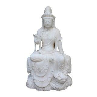 Chinese Marble Stone Kwan Yin Tara Bodhisattva Statue