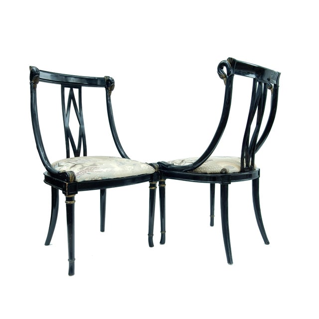 Hollywood Regency Black & Gold Swan Chairs - A Pair - Image 2 of 10