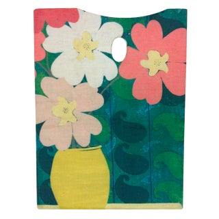 Vintage Painters Pallete with Floral Applique