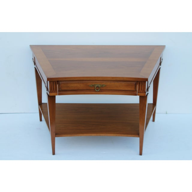 John Widdicomb Mid-Century Curved High End Walnut Accent Table - Image 2 of 11