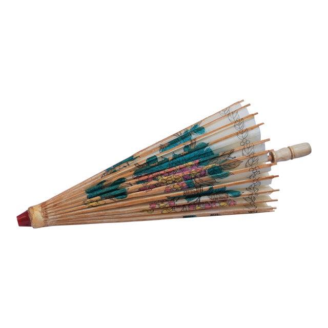 Vintage Asian Rice Paper Floral Umbrella - Image 1 of 10
