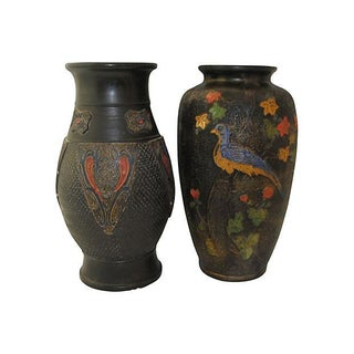 Japanese Pottery Vases - Pair