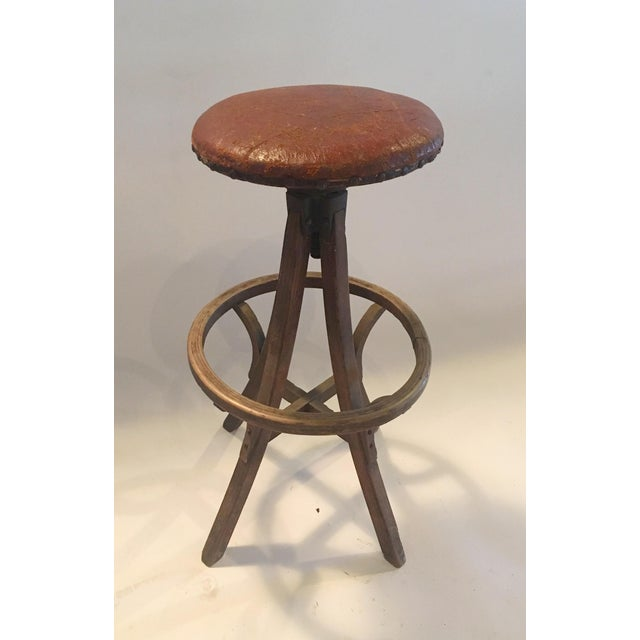 Vintage Industrial Leather Swivel Stool - Image 5 of 6