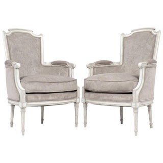 Antique French Louis XVI Bergères - A Pair