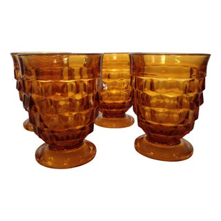 Amber Fostoria Footed Lowball Tumblers - Set of 4
