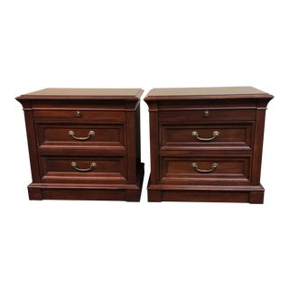 Ethan Allen Sable Medallion Nightstands - A Pair